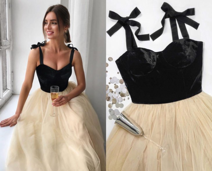 Larne Studio hace bonitos vestidos de corsé; tul color hueso, top negro de terciopelo
