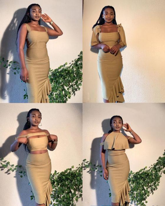 Diseño mostrando cómo usar un vestido de diferentes maneras