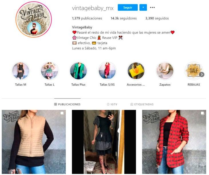 Perfil de instagram de la marca de ropa mexicana VintageBaby