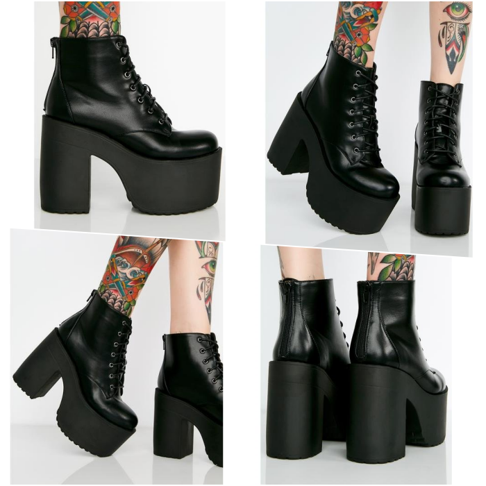 black chunky platform lace up ankle boots