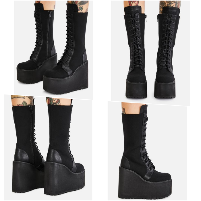 long plain platform lace-up boots
