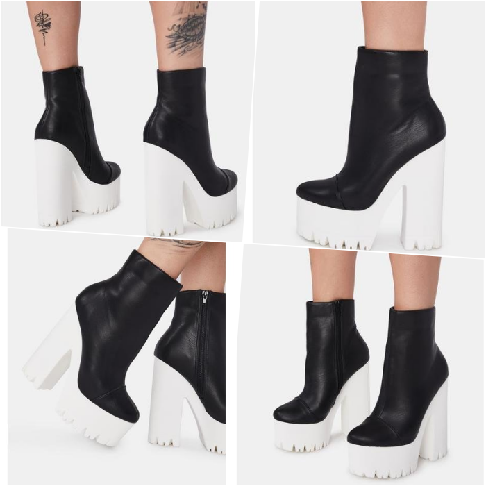 black white platform ankle boots