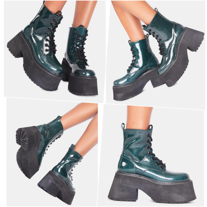 green patent leather ankle boots with black chunky platform