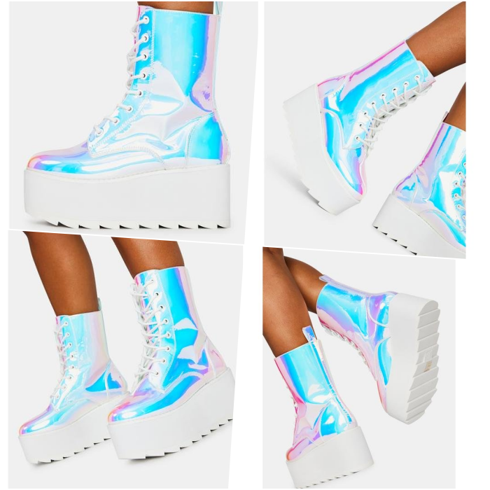 iridescent white ankle boots with blue and pink