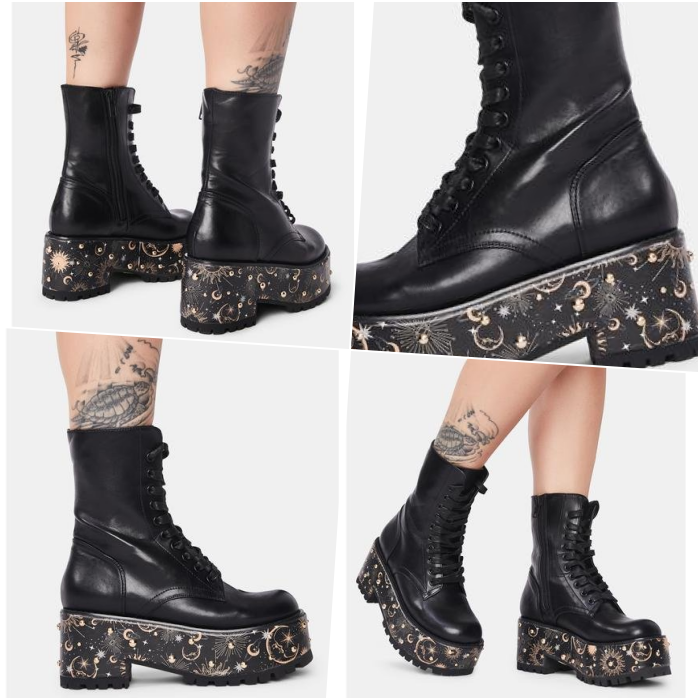 black leather platform ankle boots embellished with galaxies on the sole