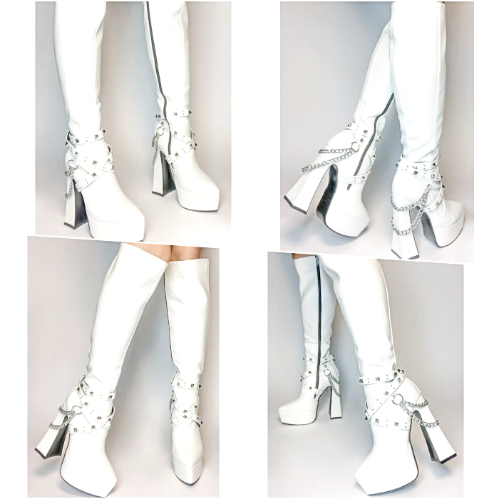 Long White Platform Boots With Silver Buckles And Chains