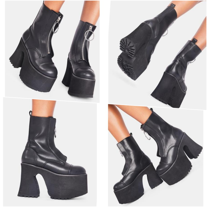black platform ankle boots with silver zipper