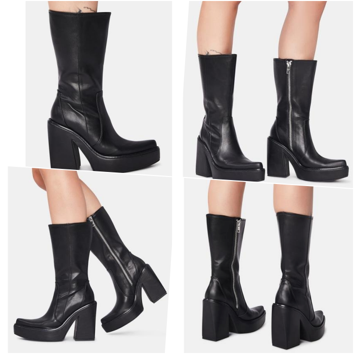 black platform toe ankle boots