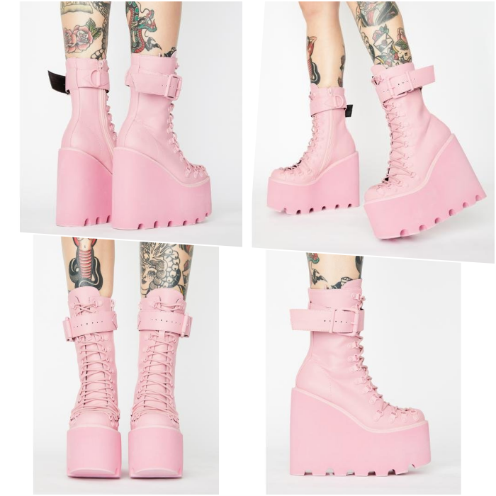 pink platform buckle ankle boots