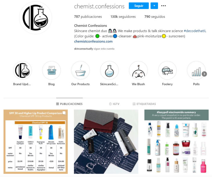 Screen shot of the Instagram profile of the chemist.confessions account