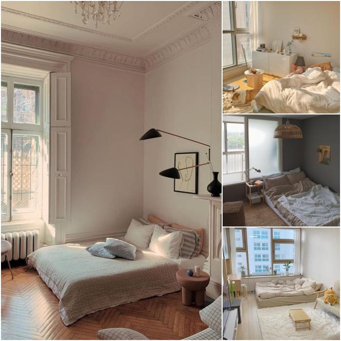 habitaciones minimalistas en colores claros blanco, beige