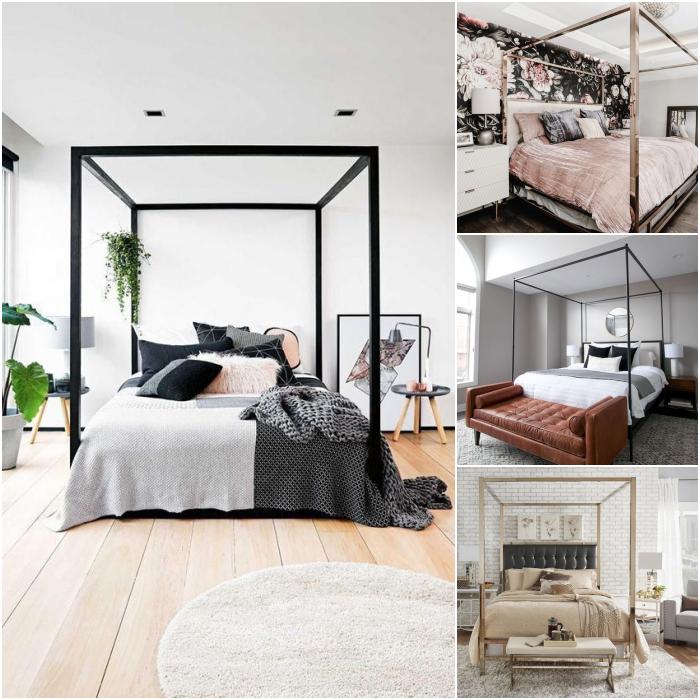 habitaciones con dosel de diferentes diseños