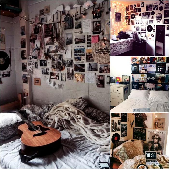 habitaciones con posters y imagenes de diferentes bandas musicales
