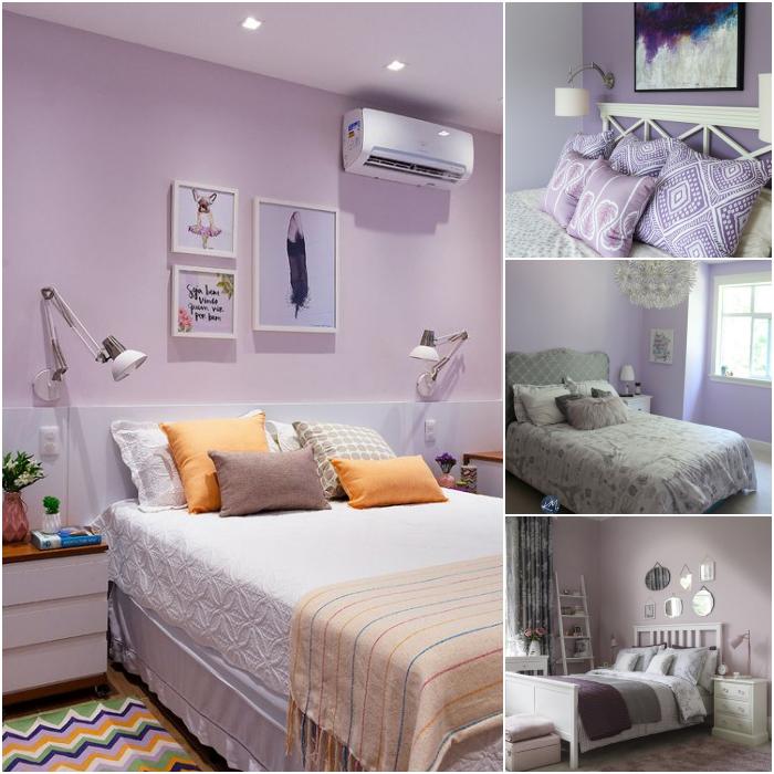 habitaciones en color lila y morado con tonos blancos y beige