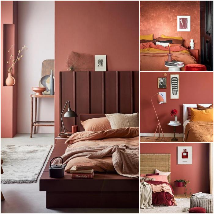 habitaciones decoradas en colores rojos, caoba, naranja y blanco