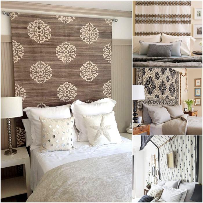 habitaciones decoradas con tapetes decorativos o cortinas estampadas en la cabecera