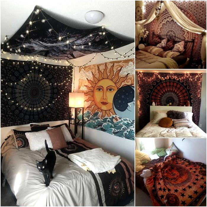 habitaciones de estilo hippie con mantas y pinturas boho