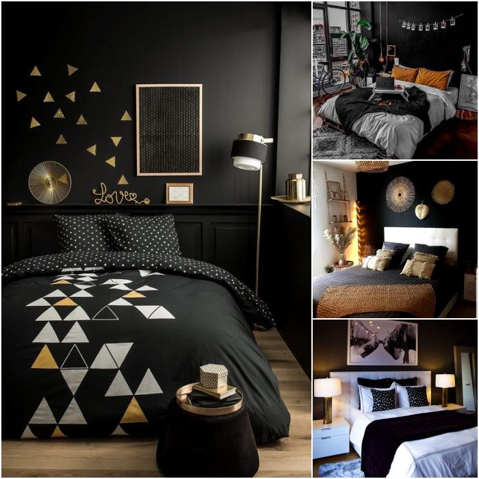 habitaciones en colores negro, gris, blanco y beige