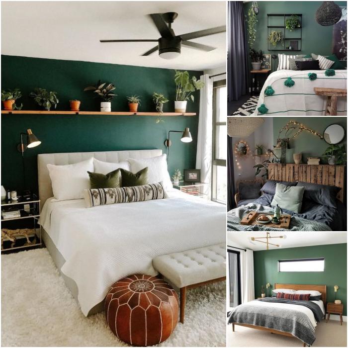 habitaciones en colores verde, blanco y beige con paredes blancas y diseños naturales