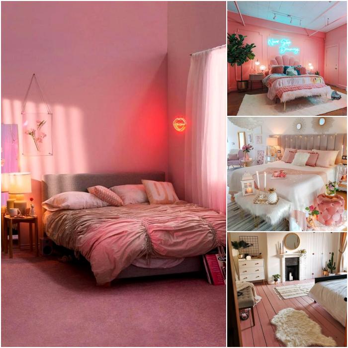 habitaciones en colores rosa pastel, fucsia, gris y blanco