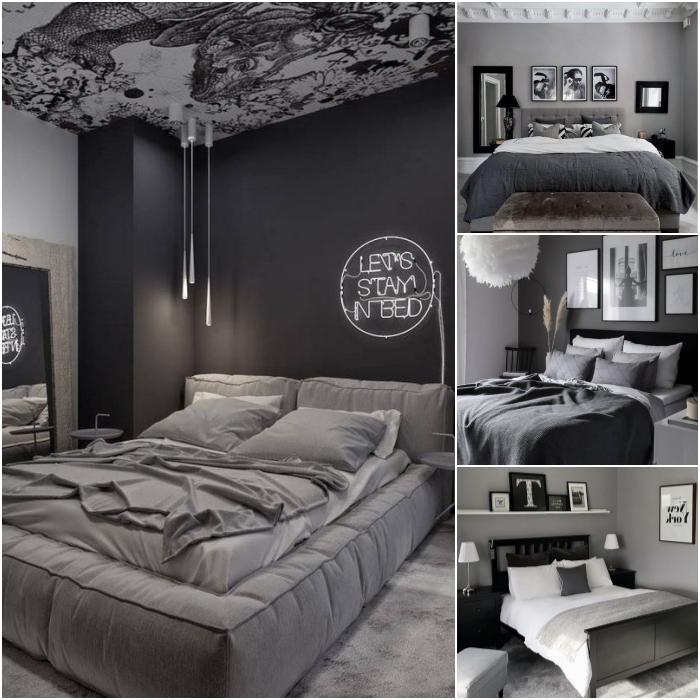 habitaciones en colores gris, negro, blanco y beige