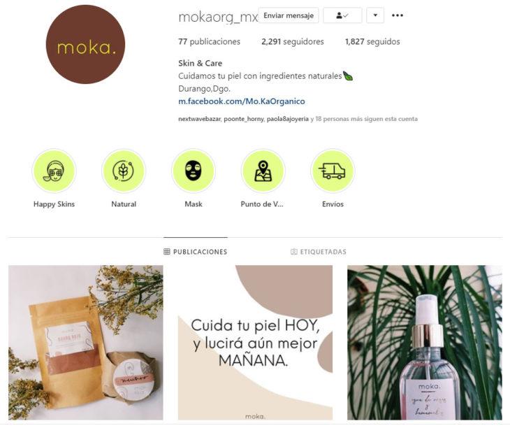 Screen shot del perfil de Instagram de la cuenta mokaorg_mx