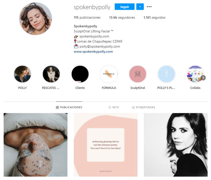 Screen shot of the Instagram profile of the spokenbypolly account