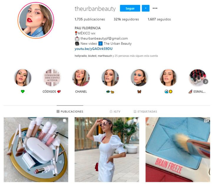 Screen shot of the Instagram profile of the theurbanbeauty account