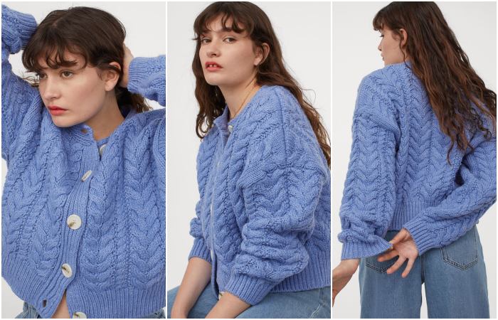 long brown hair girl wearing blue knitted cardigan sweater with waist jeans