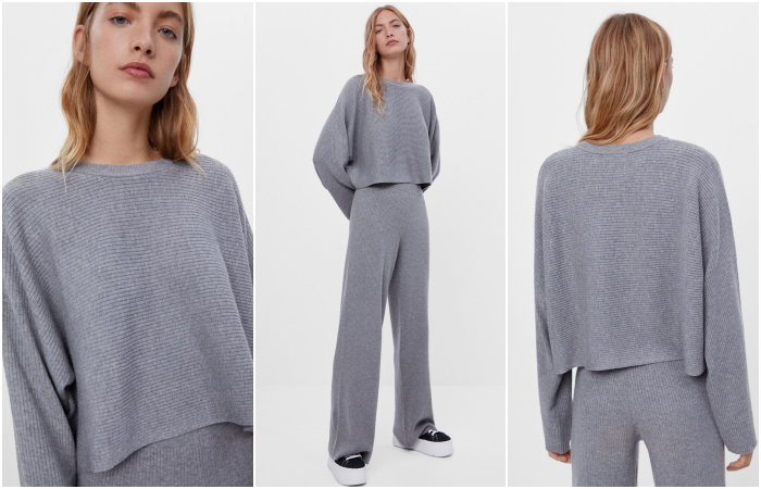 blonde girl wearing gray long sleeve set and baggy wide leg pants with platform trainers