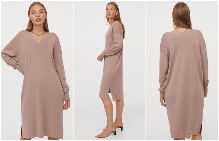 blonde haired girl wearing a light pink knit dress with beige heels