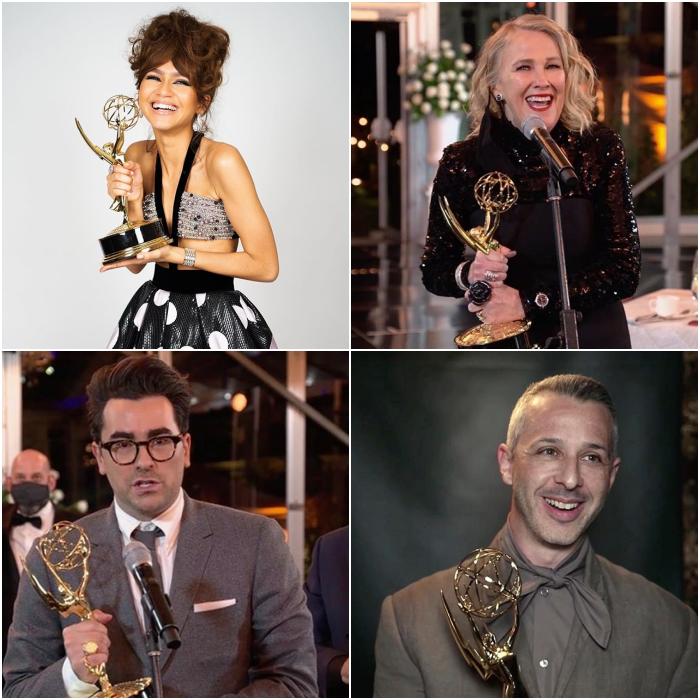 ganadores del Emmy, Zendaya, Catherine O'Hara, Dan Levy y Jeremy Strong