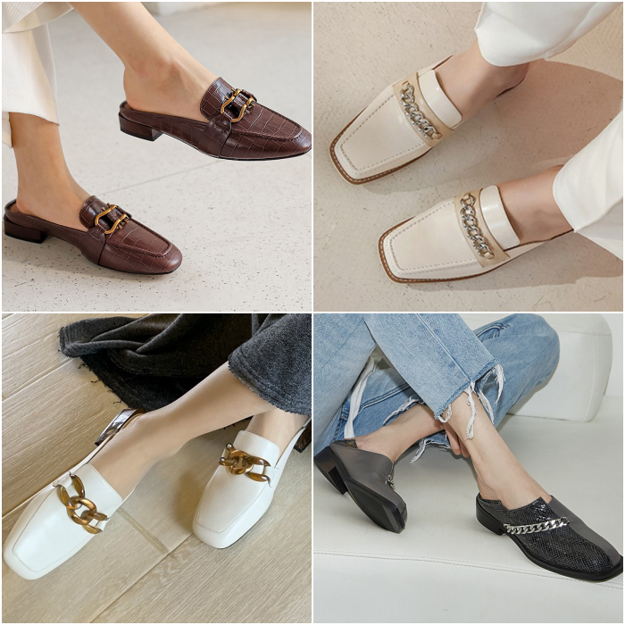 Metedera loafers with chain detail on the instep in coffee, beige, white and black with gray