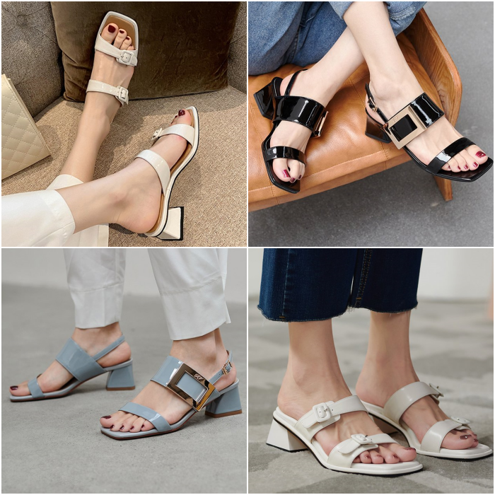 sandals with straps and buckles in white, black, blue and gray