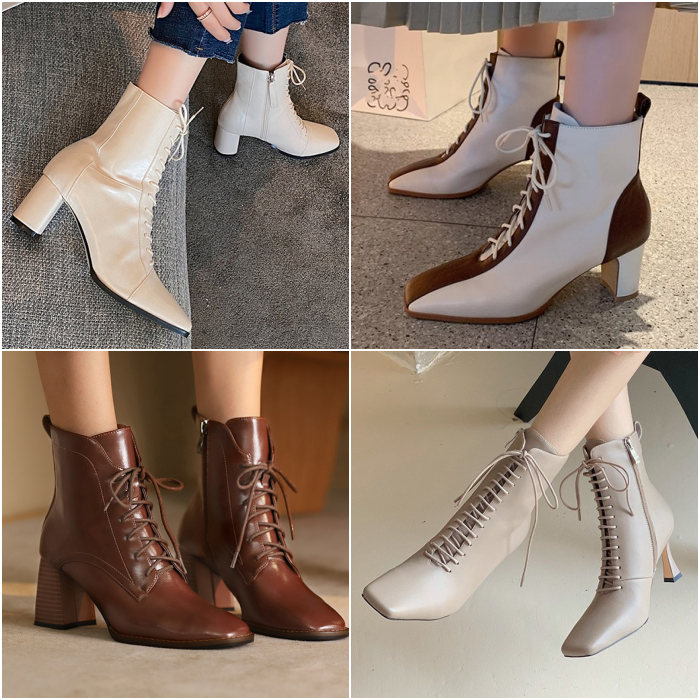 low-heeled ankle boots with laces in coffee, white, beige and gray