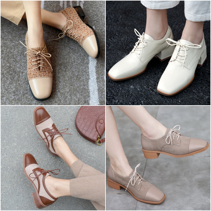 zapatos tipo oxford con agujetas y tacón bajo color café, beige, blanco y neutral