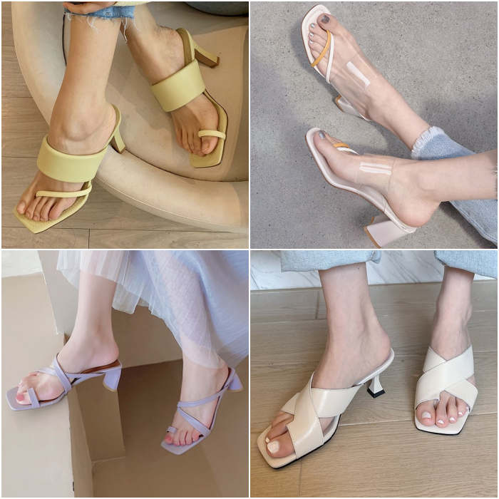 sandals with strap on the instep in yellow, light green, lilac and beige