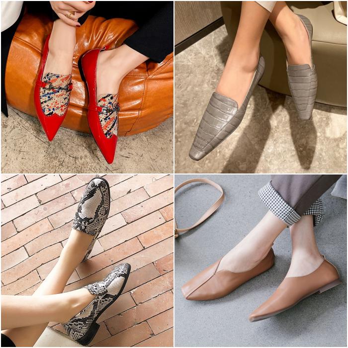 red, gray, coffee and snake skin animal print metedera shoes