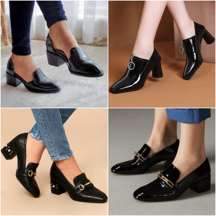 black leather loafer shoes with chain detail