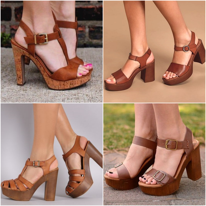 brown chunky heel sandals with instep straps