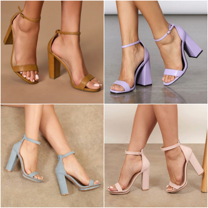 heeled sandals with strap in coffee, light pink, light blue and lilac