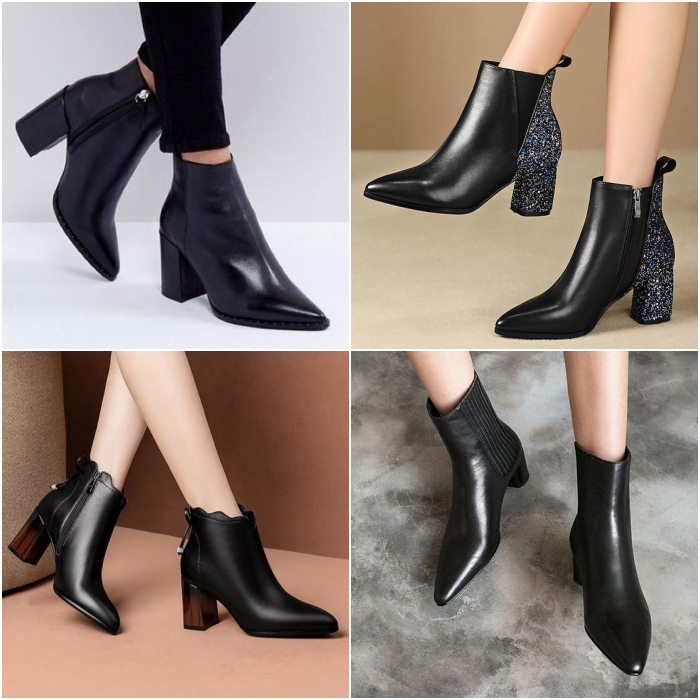 black leather ankle boots with pointed toe