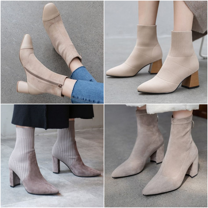 neutral beige ankle boots type sock boots