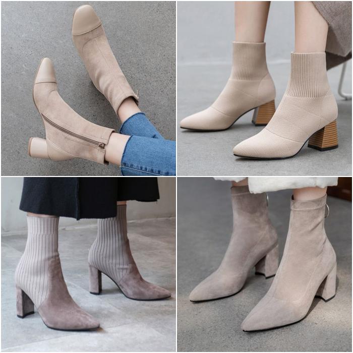 botines en color beige neutrales tipo sock boots