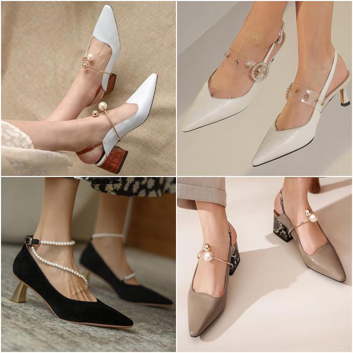 zapatos con punta en pico con tacón bajo color blanco, beige y negro