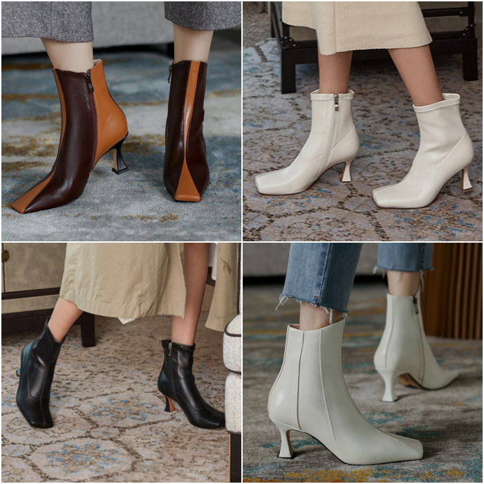 low-heeled square-toe ankle boots