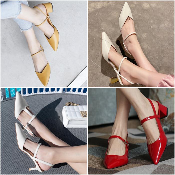 zapatos bajos en color amarillo, beige, blanco y rojo