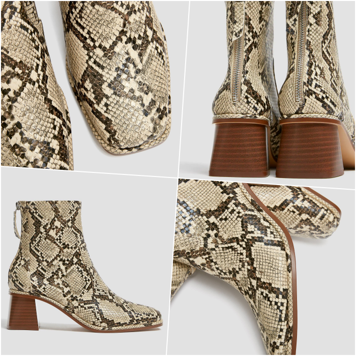 beige snake print animal print ankle boots and wooden heels