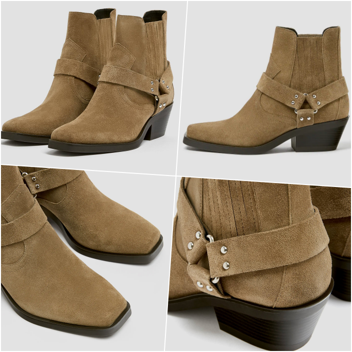beige light brown suede ankle boots with black short heel