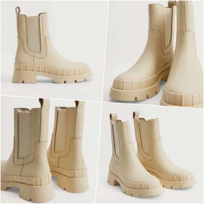 botines blancos de cuero con suela gruesa